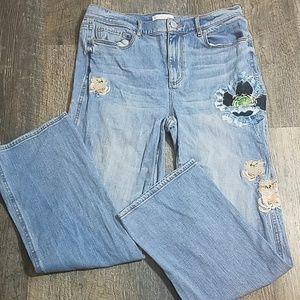 Loft Embriodered Vintage Straight Jeans
